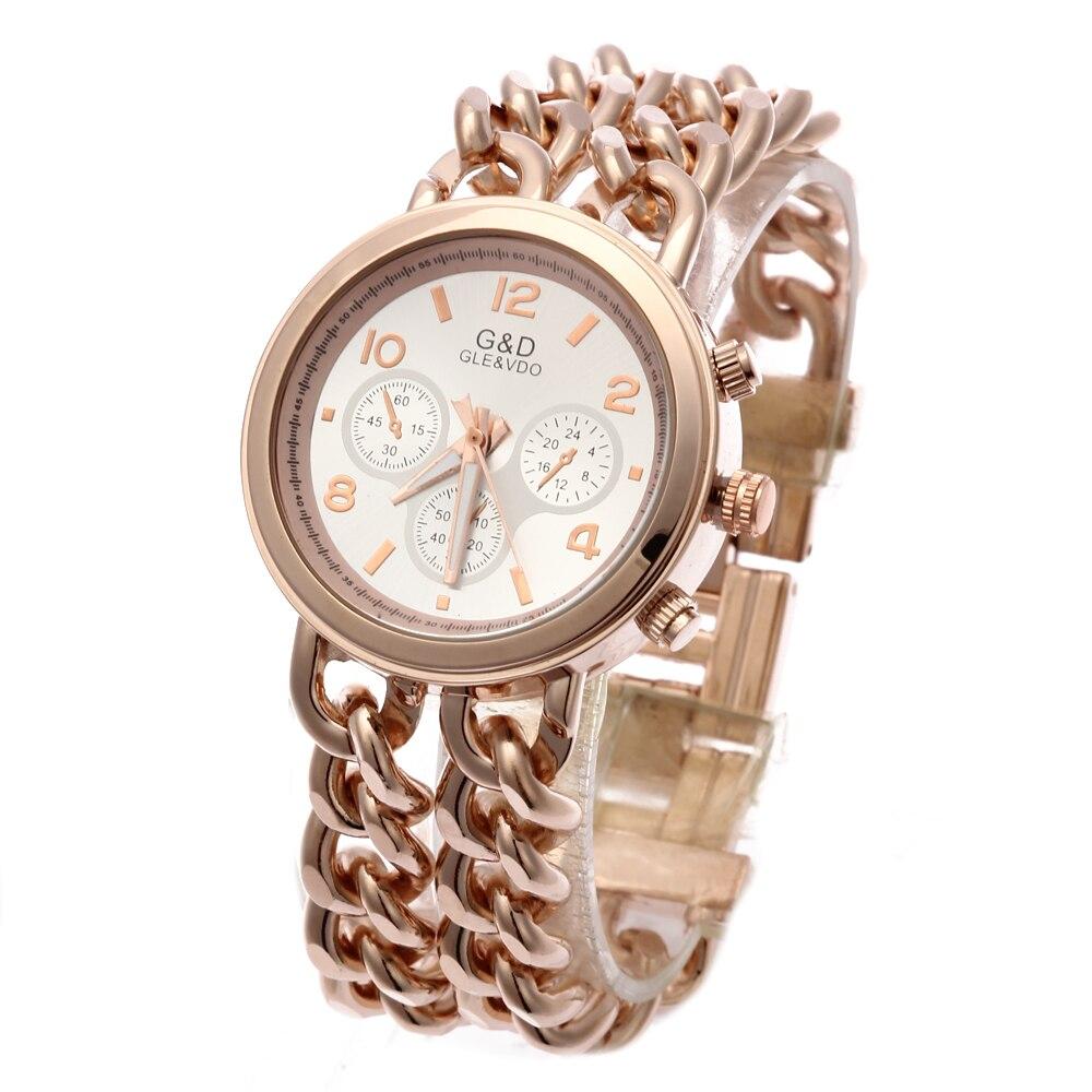 G & D Relojes de pulsera de cuarzo de las mujeres de oro rosa de - Relojes para mujeres