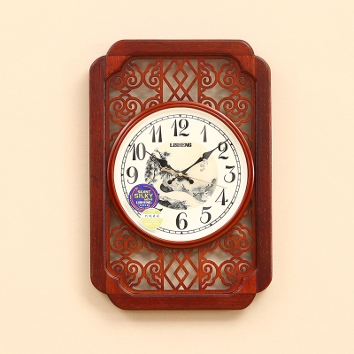 New Chinese Style Livingroom Clock Red Quiet Quartz Watch Mens Fashion Bedroom Wood Clock European Mens Gift Clocks C075 red clocks page 2