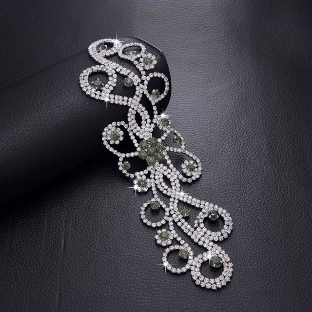 Shiny Sewing on Crystal Black Diamond Glass Rhinestone Patches Bridal Dress  Belt Sash Trimming Strass Wedding 43d3c905f76e