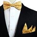 Пейсли Цветочные Желтый Предварительно связали Золотой Смокинг Лук Галстук Набор Для Мужчин 100% Шелковые Носовые Платки Регулируется Моды Случайные Партии свадьба