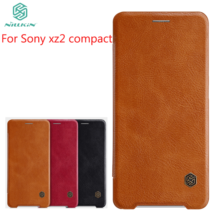 For Sony Xperia xz2 Compact Case NILLKIN Flip Leather Case For Sony Xperia xz2 Compact Book Style Cover For Sony xz2 Compact