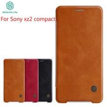 For Sony Xperia xz2 Compact Case NILLKIN Flip Leather Case For Sony Xperia xz2 Compact Book Style Cover For Sony xz2 Compact кейс для назначение sony xperia xz2 xperia xz2 compact бумажник для карт кошелек со стендом чехол ловец снов твердый кожа pu для