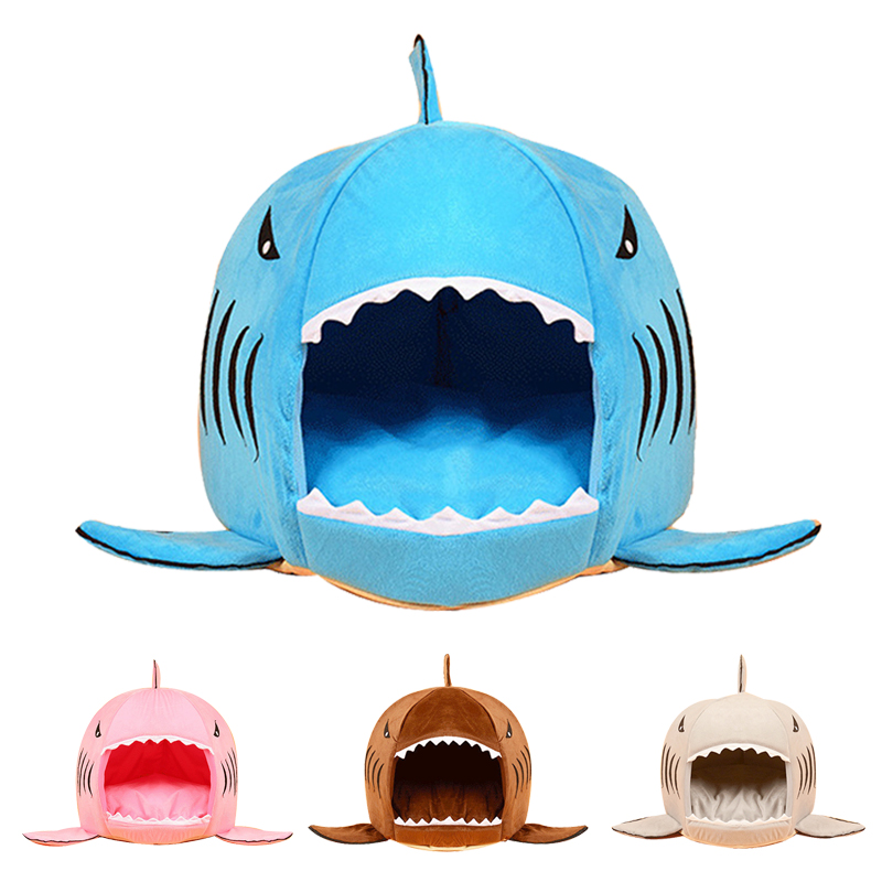 2017 Warm Soft Dog Bed House Pet Sleeping Bag Shark Dog Kennel Cat Bed Cave Cushion  Pillow Cute Kennel Nest Mat Pet Products