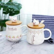 Cartoon Pig Coffee Tea Cup Office Household Drinking Couple Ceramic Creative Gift Mug with Spoon Lid