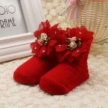 New High Quality Newborn Baby Girl Soft Socks Cute Solid Color Beautiful Flower Children Princess