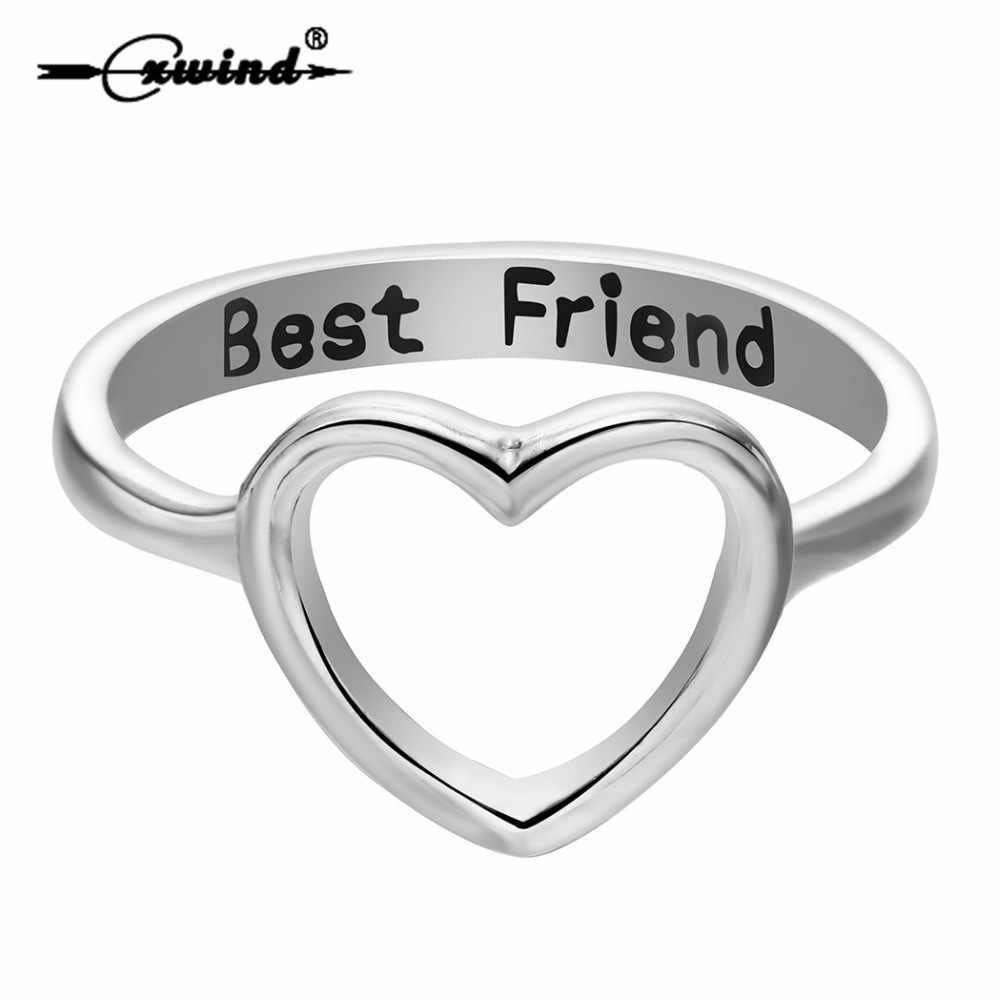 Cxwind Best Friend Heart Ring Heart Shape Promise Stackable Band Love Rings for Women's Cutout Heart Jewelry Drop Shipping