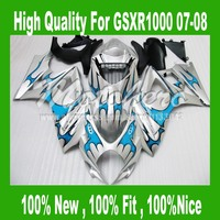Blue silver Fairing For K7 SUZUKI GSXR 1000 K7 07 08 GSX R1000 GSX R1000 K7 2007 2008 GSXR1000 07 08 fairing kits #56YY