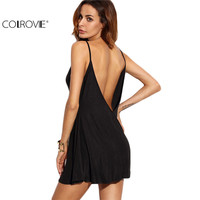 COLROVIE Fashion Dresses For Women Loose Fashions Beach Mini Dresses Black Backless Slip Sleeveless A Line