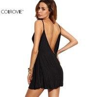 COLROVIE Fashion Dresses For Women Loose Fashions Beach Mini Dresses Black Backless Slip Sleeveless A Line