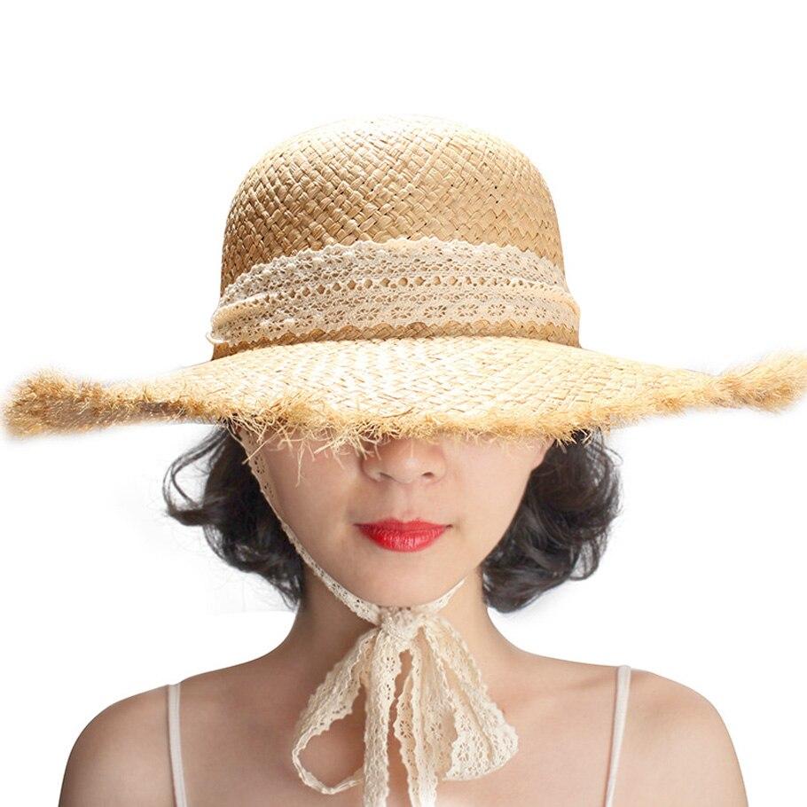Gerinly Sombreros para las mujeres blanco cinta Encaje up rafia sombrero de  paja grande ala playa al aire libre verano la moda señoras Panamá sombrero  en ... 319fcf5c6301
