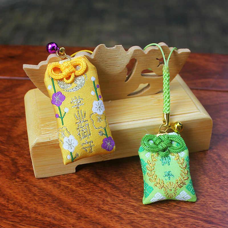 Draagbare Japanse Stijl Defensieve Amulet Zegen Tas Mini Handgemaakte Stof Hanger Sleutelhanger Tas Trekkoord Festival Decoratie