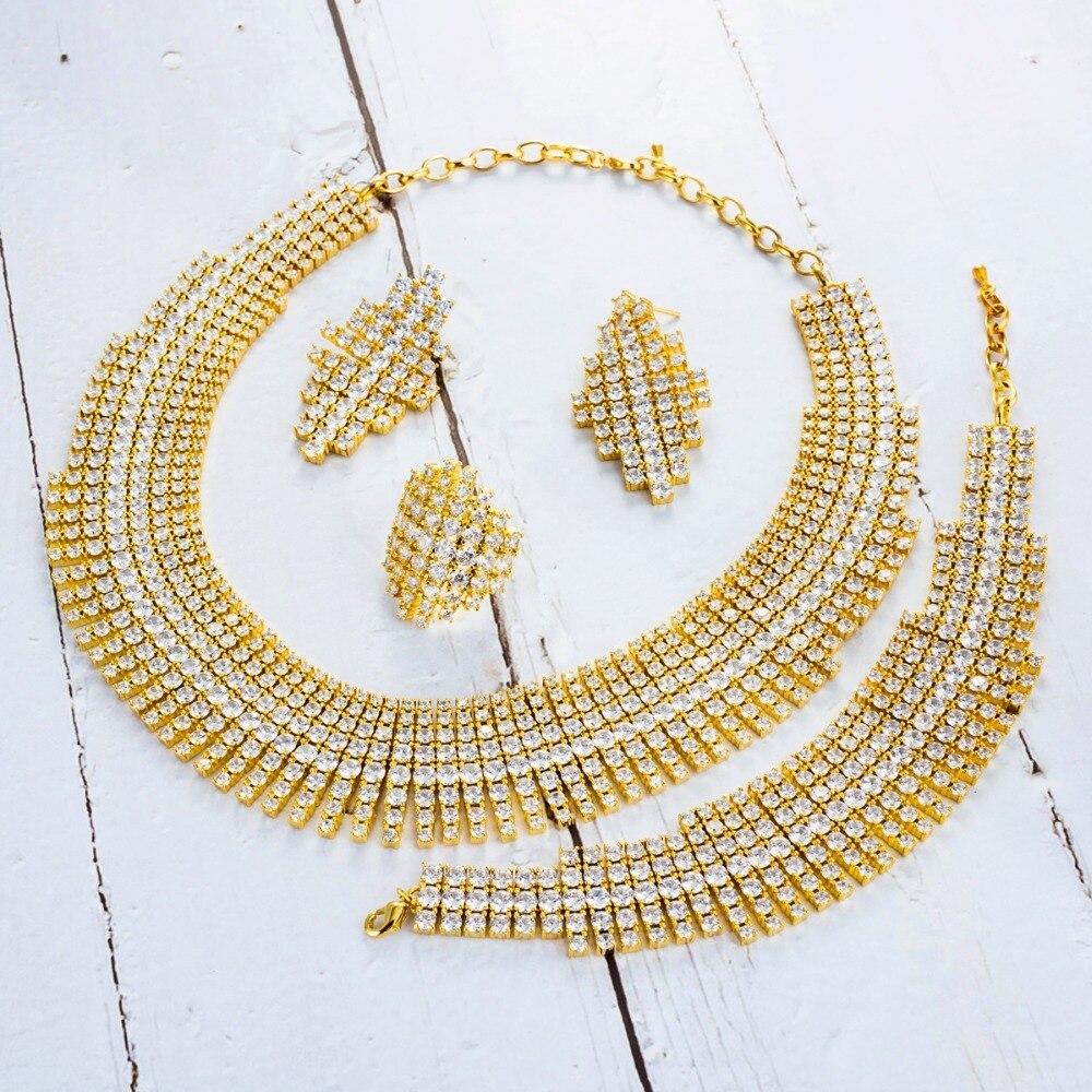Viennois Gold Color Necklace Set For Women Cubic Zirconia Dangle Earrings Ring Bracelet Set Party Wedding Jewelry SetViennois Gold Color Necklace Set For Women Cubic Zirconia Dangle Earrings Ring Bracelet Set Party Wedding Jewelry Set