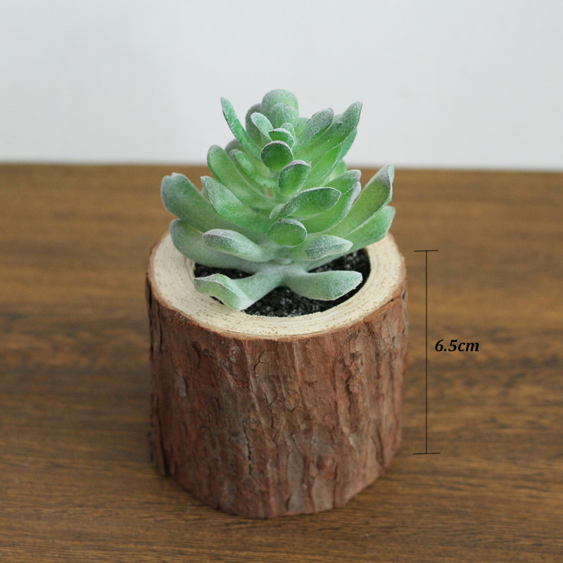 Jarown Artificial Succulent Plants Potted Set Real Wooden Pile Flowerpot For Home Decoration Office Tabletop Decor
