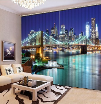 Bustling city night view European style Modern Curtains Bedding Room Living room Hotel Window Curtains