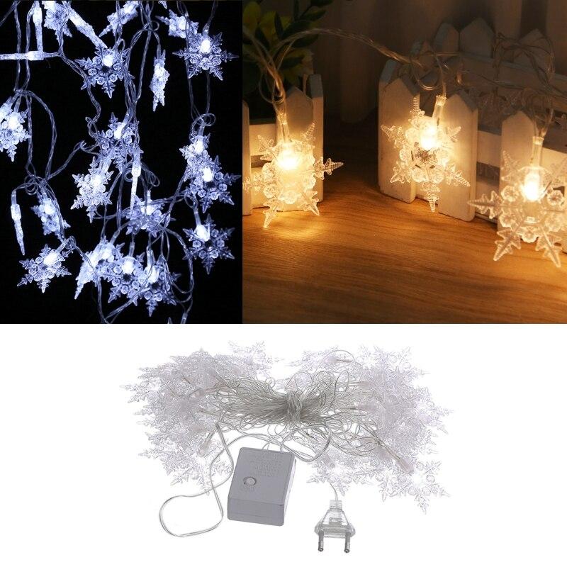 YAM 5m 40 LED Snowflake Decorative String Lights 220V EU Plug Party Holiday Christmas