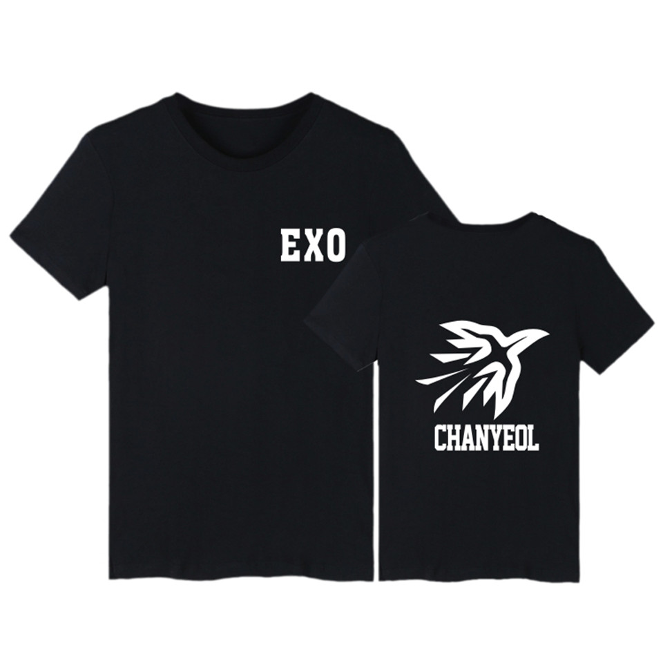 EXO Kpop LOGO T-shirt  Women Top Short Sleeve Fashion Korea Style T Shirt Women Cotton EXO Fans Female Clothes