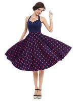 Sisjuly 1950s Vintage Dress Polka Dot Pattern Summer Dress Sexy Halter A Line Design Party Dress