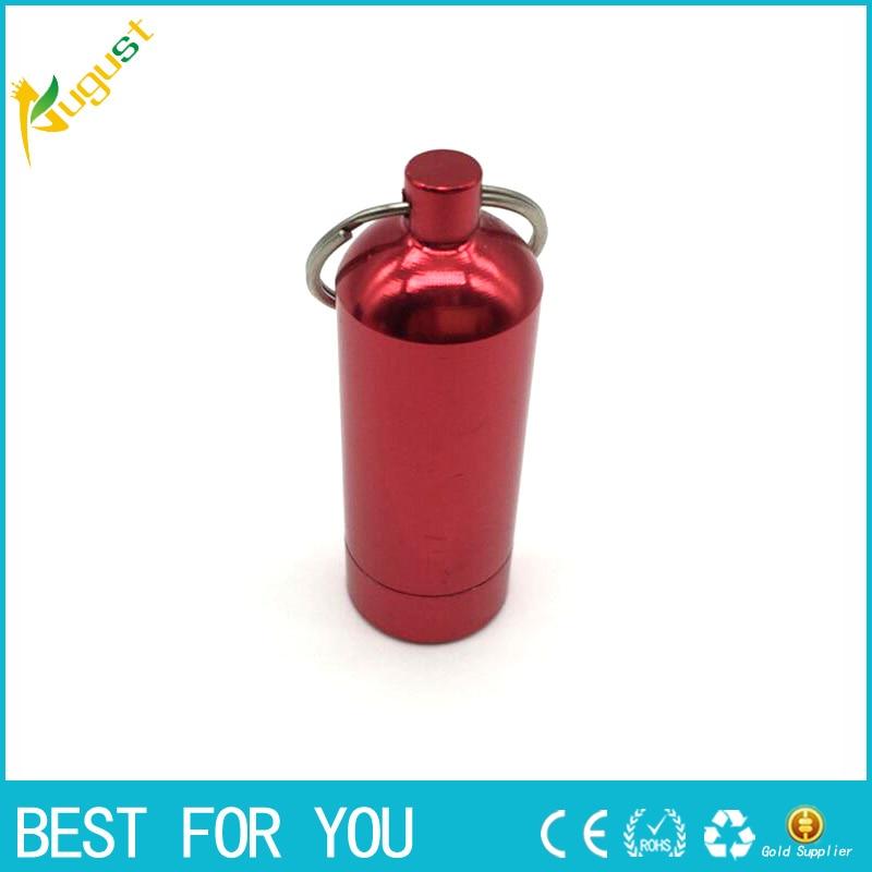 1pc Stash Pill box case medicine Storage Keychain Bottle Keyring Ring metal Aluminum Waterproof Pill Bottle Container 20*58mm