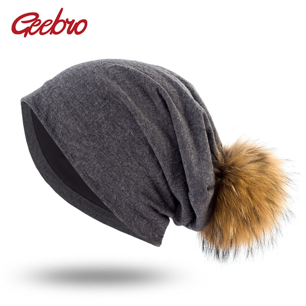 Geebro Spring Women's Plain Beanies with Raccoon Fur Pompom Hats For Ladies Soft Slouchy Cotton Skullies Beanie Cap DQ428A