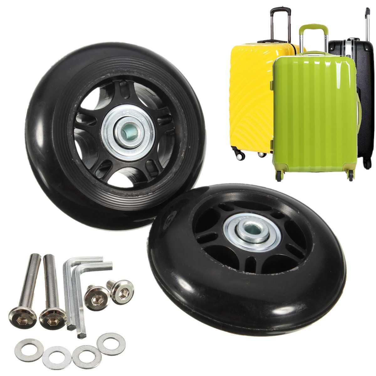 2 Set Black Luggage Suitcase Replacement Wheels Axles Rubber Wheels Repair Kit OD 75mm