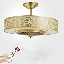 2019  Ceiling Fans lamp LED Anion 65cm Copper Frequency conversion motor Traditional ceiling fan light dimmer Remote control