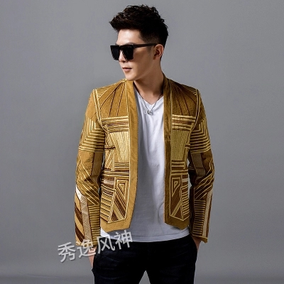 100%real men fashion embroidery event/stage performance short tuxedo jacket/stage performance/ASIA SIZE
