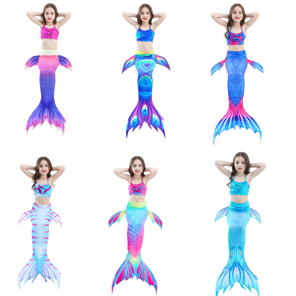 3pcs/set Girls Bathing Suit Swimming Mermaid Tail Costumes without Monofin Little Children Ariel Mermaid Cosplay Kids Swimwear