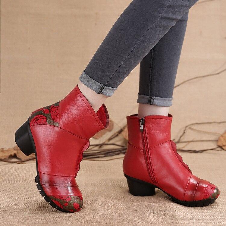 Snow Rain Warm Fashion Women Boots Shoes Fur Plush Winter Rubber Round Toe Zipper Ankle Cow Genuine Leather Superstar XMD-35882