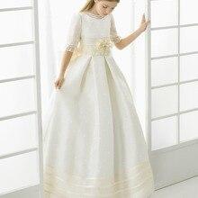 Коллекция года, Новые Платья с цветочным узором для Девочек Пышные Платья в пол с бантом для девочек платья для первого причастия для девочек, vestidos De Comunion