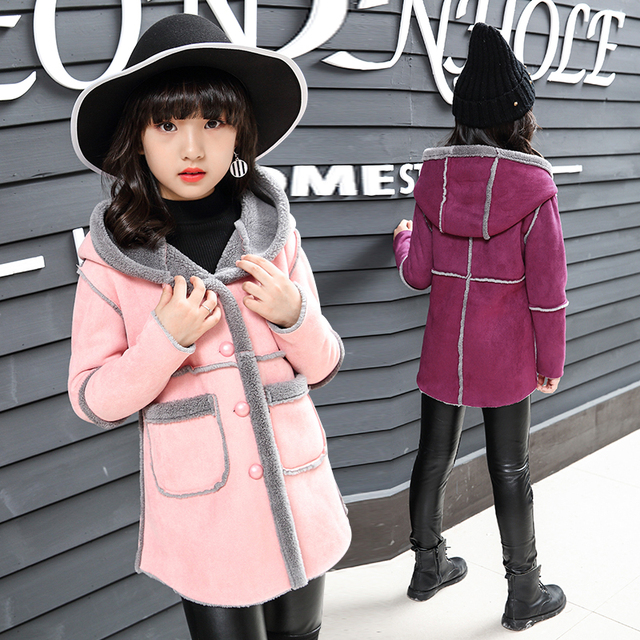 e14ecc7ac Abrigos de lana a la moda para niñas y niñas de lana y mezcla chaquetas para