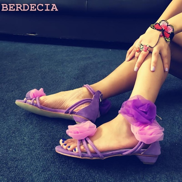 c3f76e8bc0fd Spring new purple flowers contract color fashion sandals hollow out woman  dress shoes low-heeled open toe sandals casual sandals