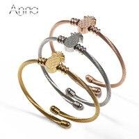 A N 3PCS Lot Gold Rose Gold Silver Bangles Bracelets Opened Cuff Stainless Steel Women Bracelets