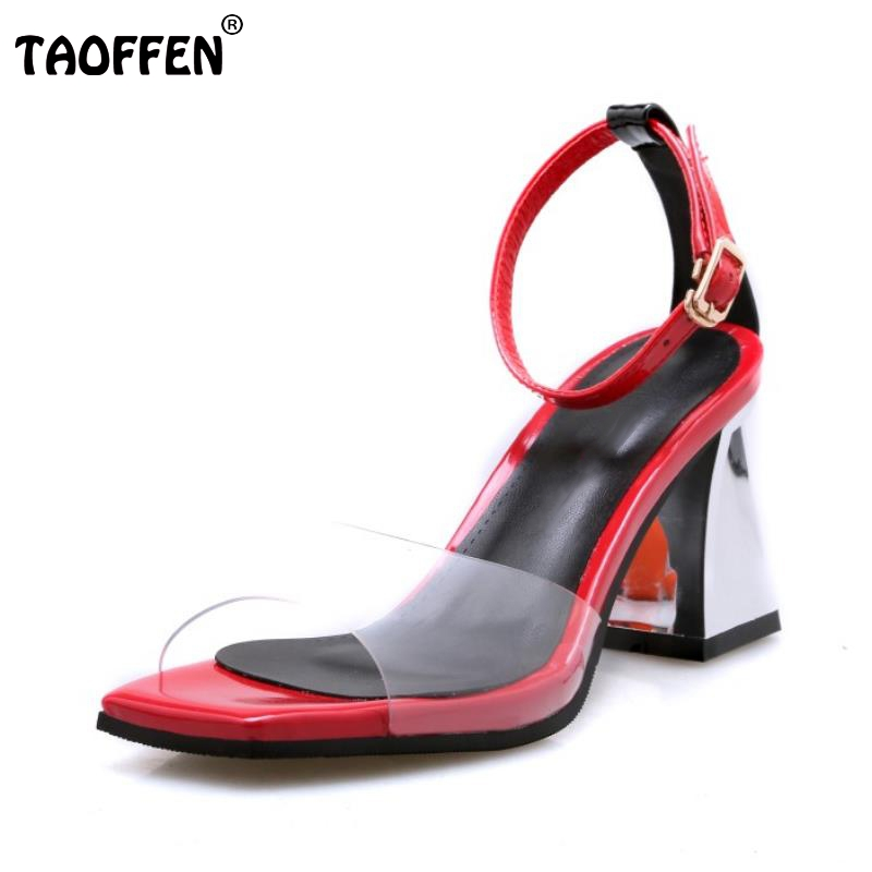 TAOFFEN Women High Heels Sandals Real Leather Shoes Women Buckle Clear Thick Heel Sandals Lady Daily Footwear Size 34-39 taoffen women high heels sandals real leather peep toe shoes women buckle clear thick heel sandals daily footwear size 34 39