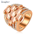 Beagloer Fashionable Jewelry Engagement Rings Real Gold Plated AAA Zircon Austrian Crystal Multi-layer Rings  Ri-HQ0215-b