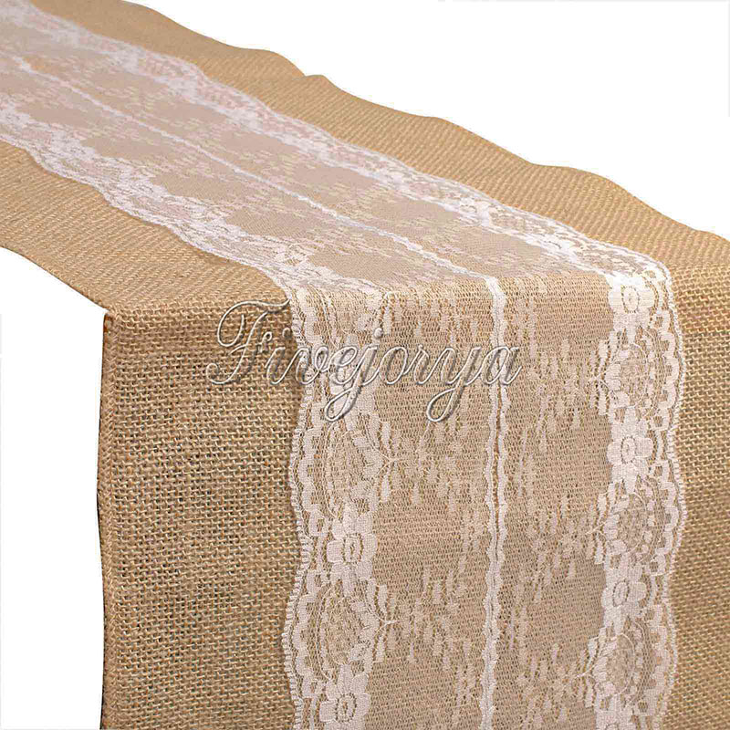 30cm x 275cm 5Pieces White Lace Natural Hessian Burlap Table Runner For Party Banquet Hotel Table Wedding Decor Home Textile