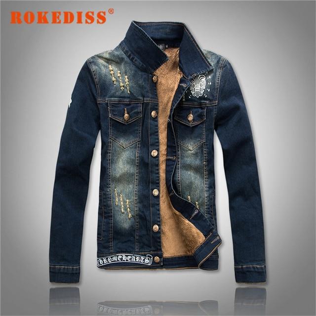 Fabric Denim jacket Male winter fashion thick plus velvet male Thickening cowboy Menswear Plus Size M-4XL Men's clothing G303