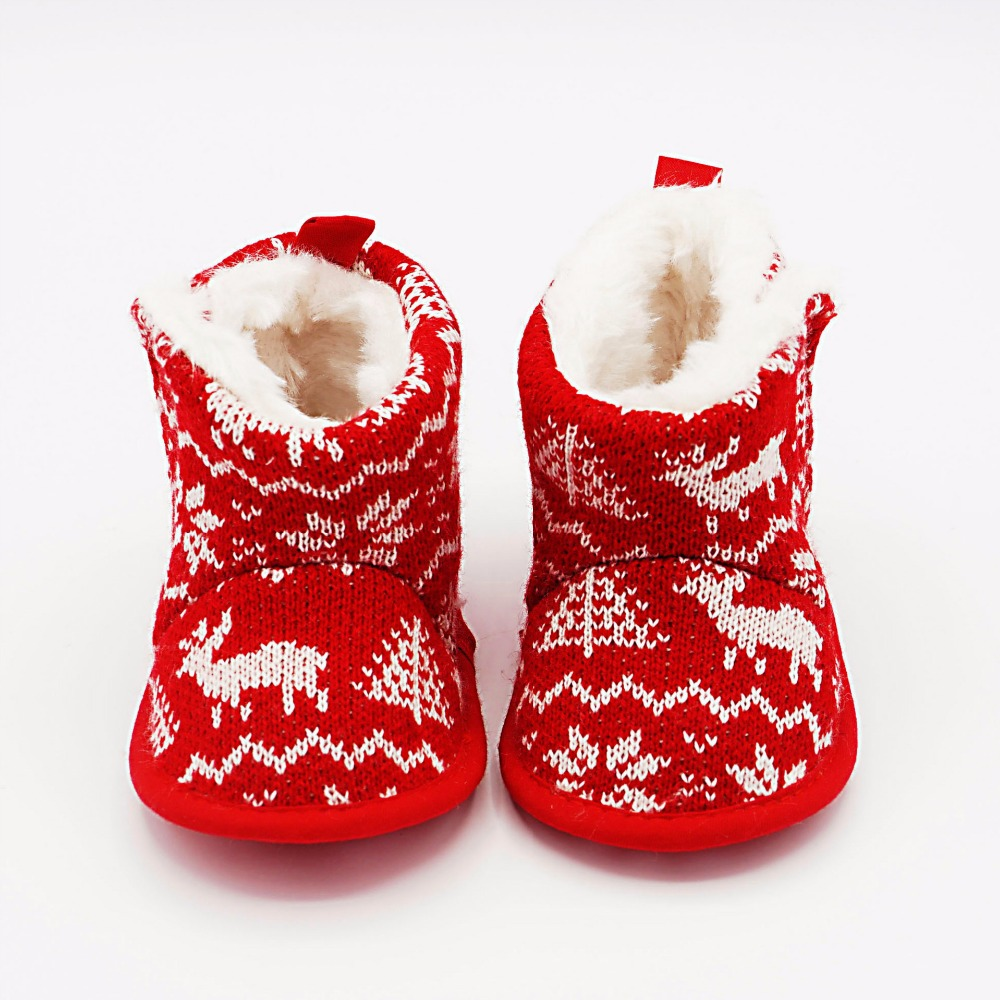 Baby Boots Xmas Fashion Toddler Infant Newborn Baby Print Boots Christmas Soft Sole Boots First Walker Warm Shoes DS19