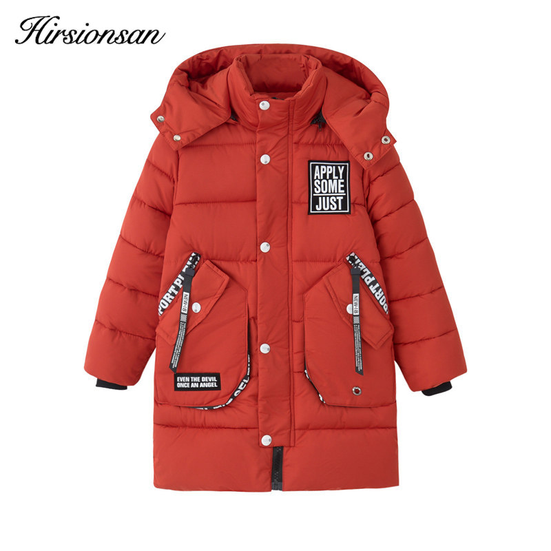 Hirsionsan Winter Down Jacket for Boys and Girls Big Pocket  Hooded Zipper Long Cotton Coat for Kids Outerwear Children Clothes boys girls winter coat kids hooded long sleeve stars printed down jacket toddler cotton outwear children casual clothes infant