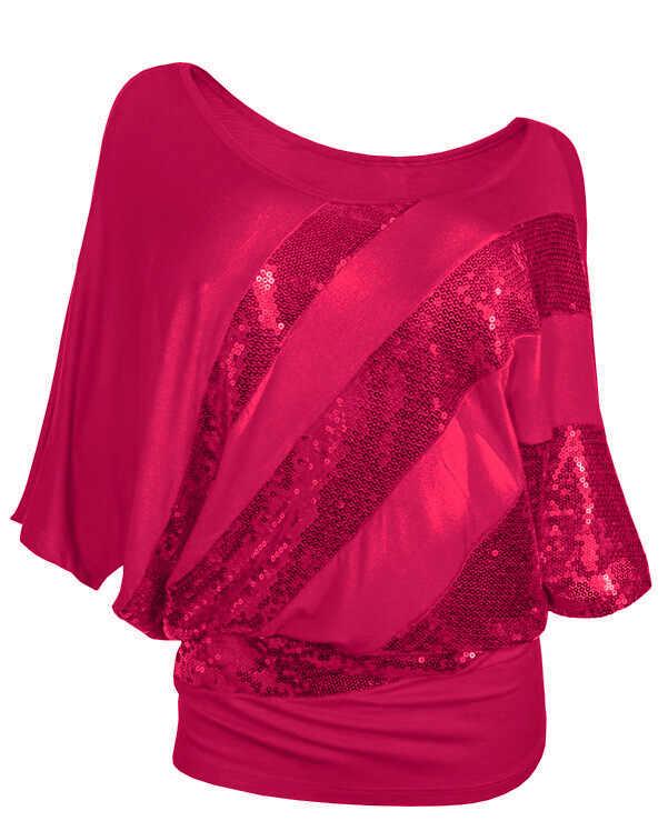 Blusa de purpurina de talla grande 2019 para mujer, camisas con hombros descubiertos y mangas de murciélago, Tops con lentejuelas para mujer, camisa tipo túnica, ropa informal suelta