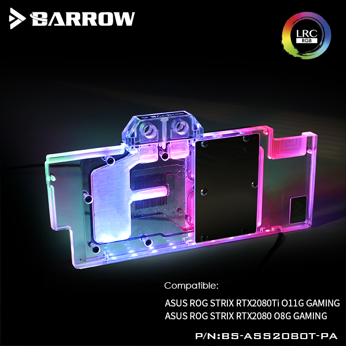 BS-ASS2080T-PA Barrow gpu water block for ASUS ROG STRIX RTX2080TI O11G GAMING/RTX2080 8G GAMING gpu water cooling cooler цены