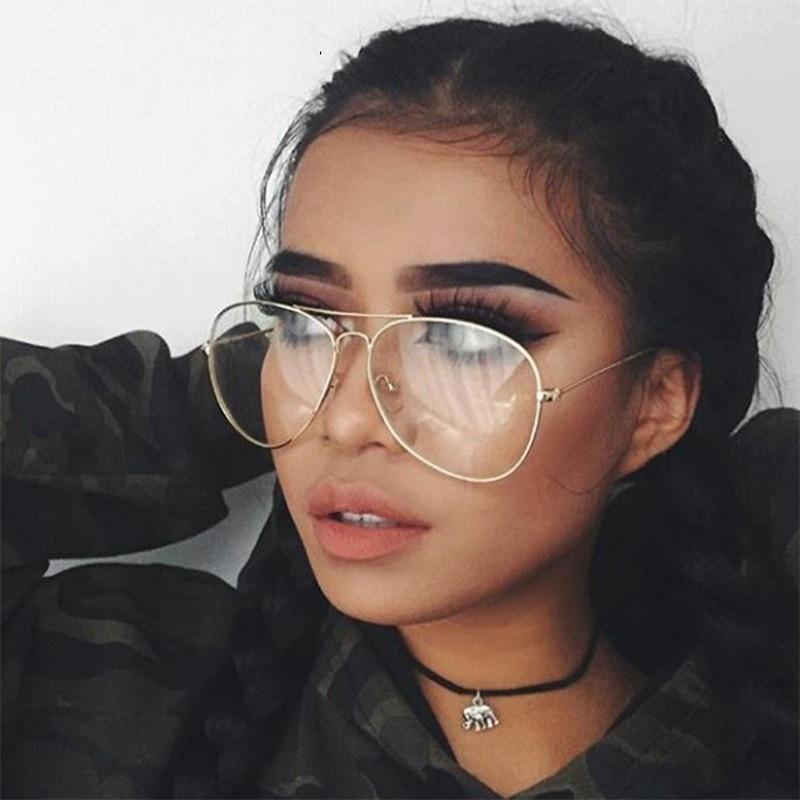 abcaa0034a Nuevo diseñador piloto mujer gafas montura óptica 2019 Metal redondo gafas  montura transparente lentes negro plata oro ojo cristal