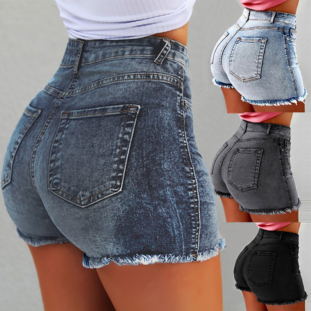 High Waist Denim Fringed Women   Shorts   Bodycon Ripped Hole   Short   Jeans With Tassel Plus Size XXXL 2019 Summer New Female   Shorts