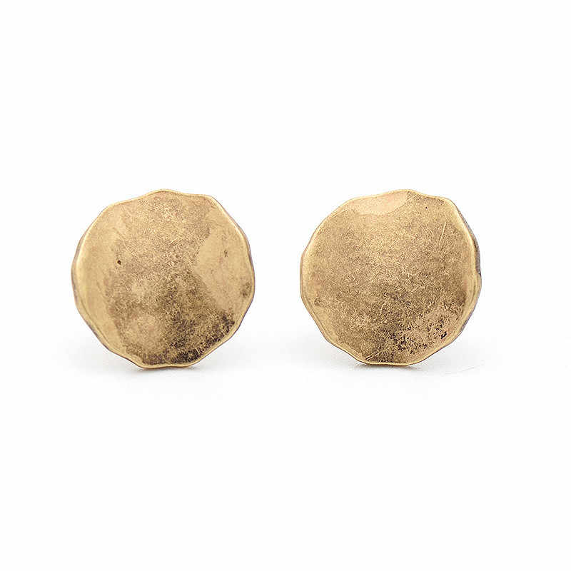 QCOOLJLY New Vintage Retro Antique Metal Round Coin Stud Earrings for Women Zinc Alloy Golden Earrings Jewelry Female Brincos