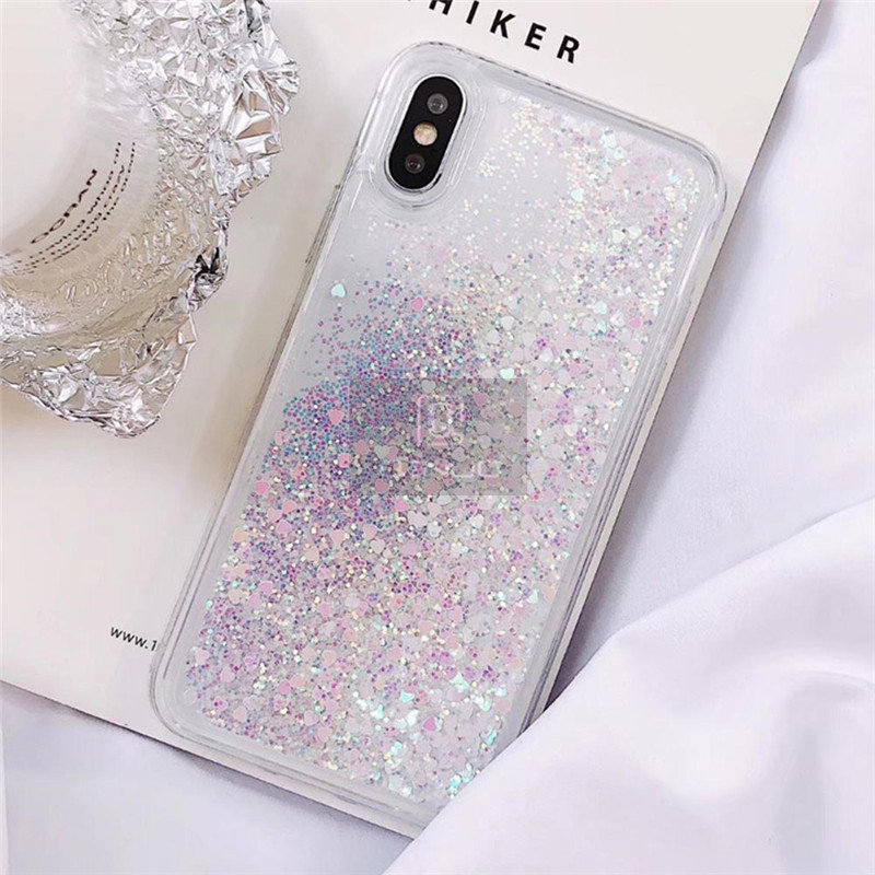 QINUO Love Heart Glitter Phone Case For iphone 11 Pro Max X XR XS MAX Liquid Quicksand Cover For iphone 5 5S SE 6S 6 7 8 Plus Bling Sequins Coque Funda