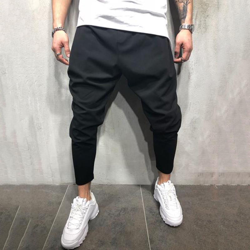 2019 Brand Spring Summer Mens Pants Fashion Skinny Sweatpants Mens Joggers Striped Slim Fitted Pants Gyms Clothing Harem Pant