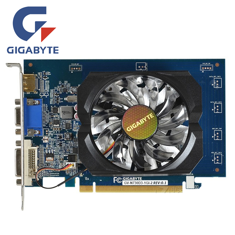 GIGABYTE GT730 1GB Video Card GV-N730D3-1GI D3 GDDR3 Graphics Cards For NVIDIA Geforce GT 730 1G Hdmi Dvi  Used VGA Cards
