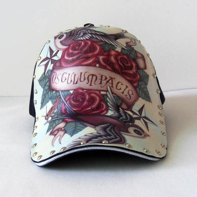 rose snapback Tattoo man street fashion Baseball cap hat  personalized pattern fashionable casual baseball cap gorras