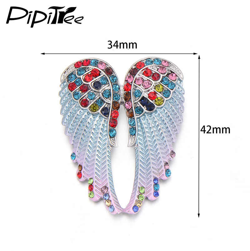 Pipitree Fashion Vintage Sayap Malaikat Bros Pin Wanita Pria Perhiasan Hadiah Natal Antik Warna Emas Berlian Imitasi Bros