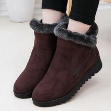 Womens Ankle Boots Wedges Flock Waterproof Female Snow Fashion Short Plush Zipper Winter Woman