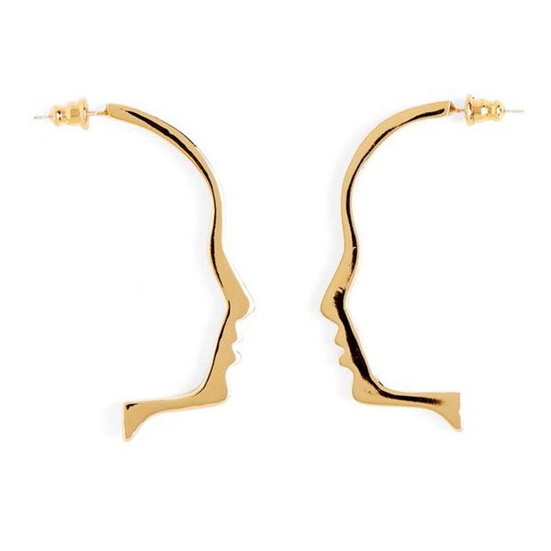 2017 New Art Style Gold Tone Face Outline Stud Earrings For Women Femme Bijoux